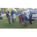 K-9 Police Officer giving a demonstration of his dog to a line of young children