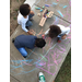 An aerial view of the children coloring on the sidewalk with chalk